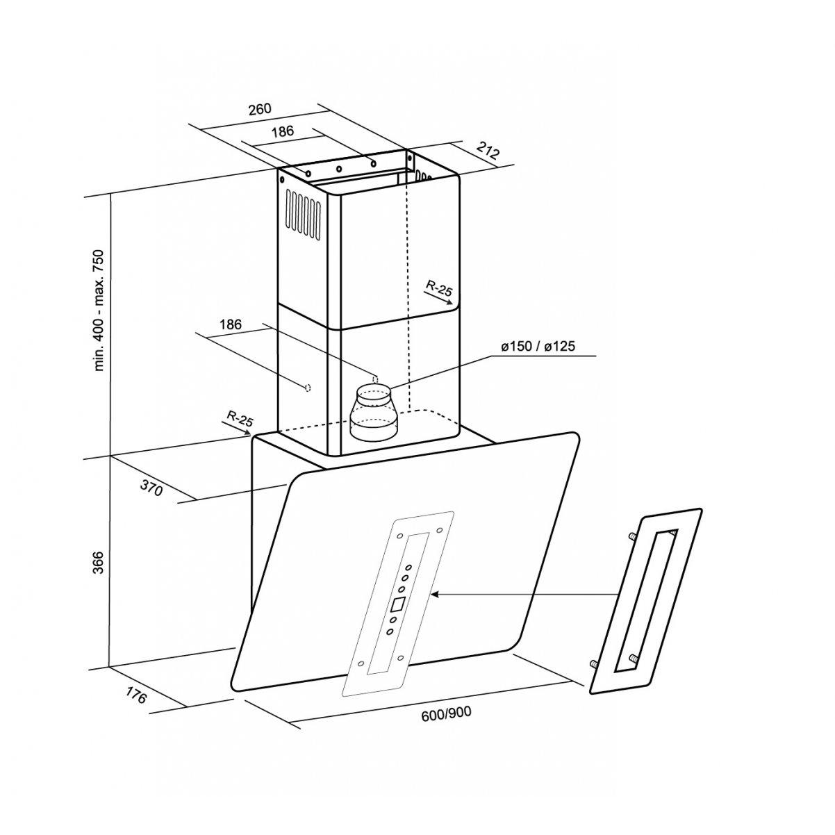 Vägghängd vertikal köksfläkt Astra vit glas 60cm/90cm