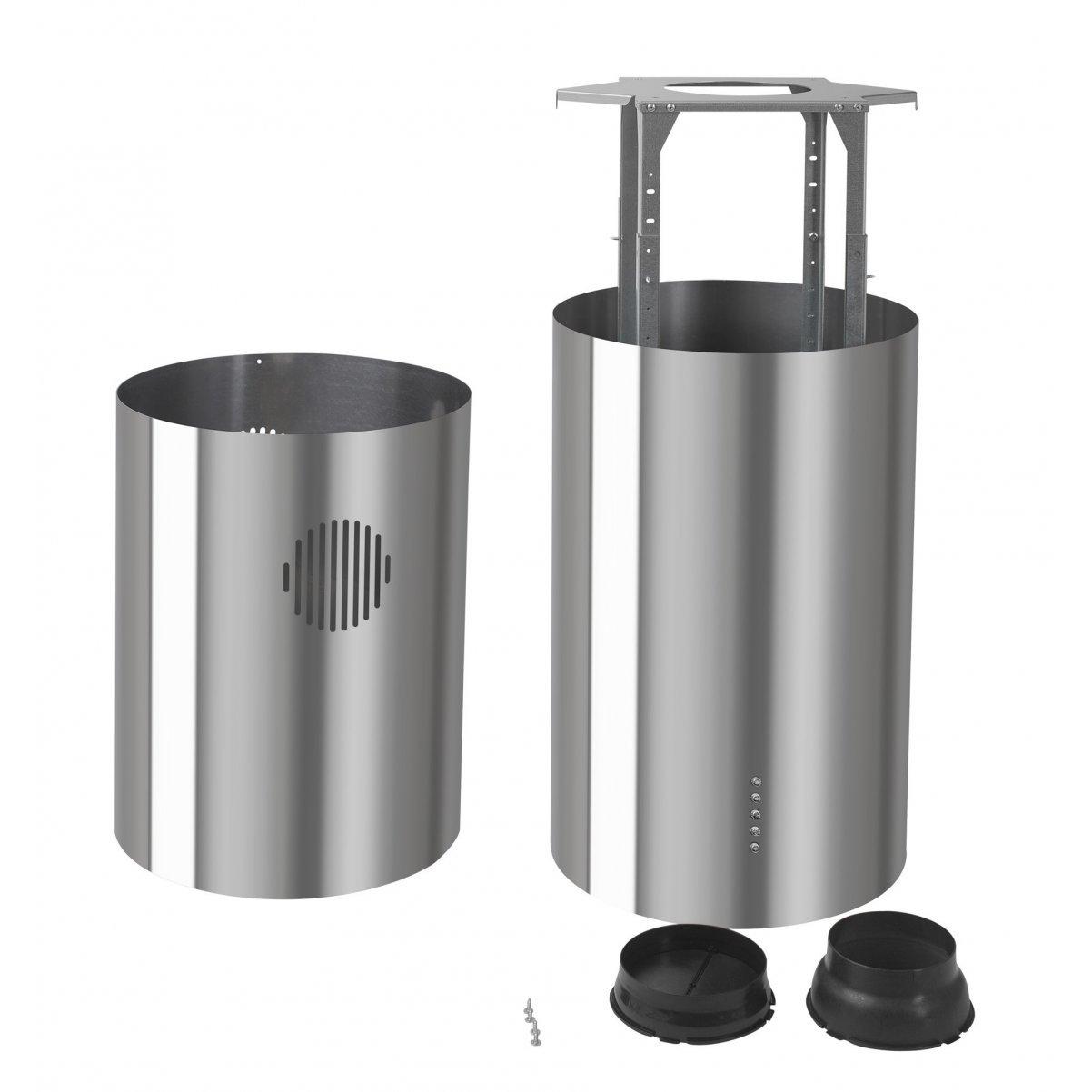 Design frihängande cylinderformad köksfläkt Round rostfri