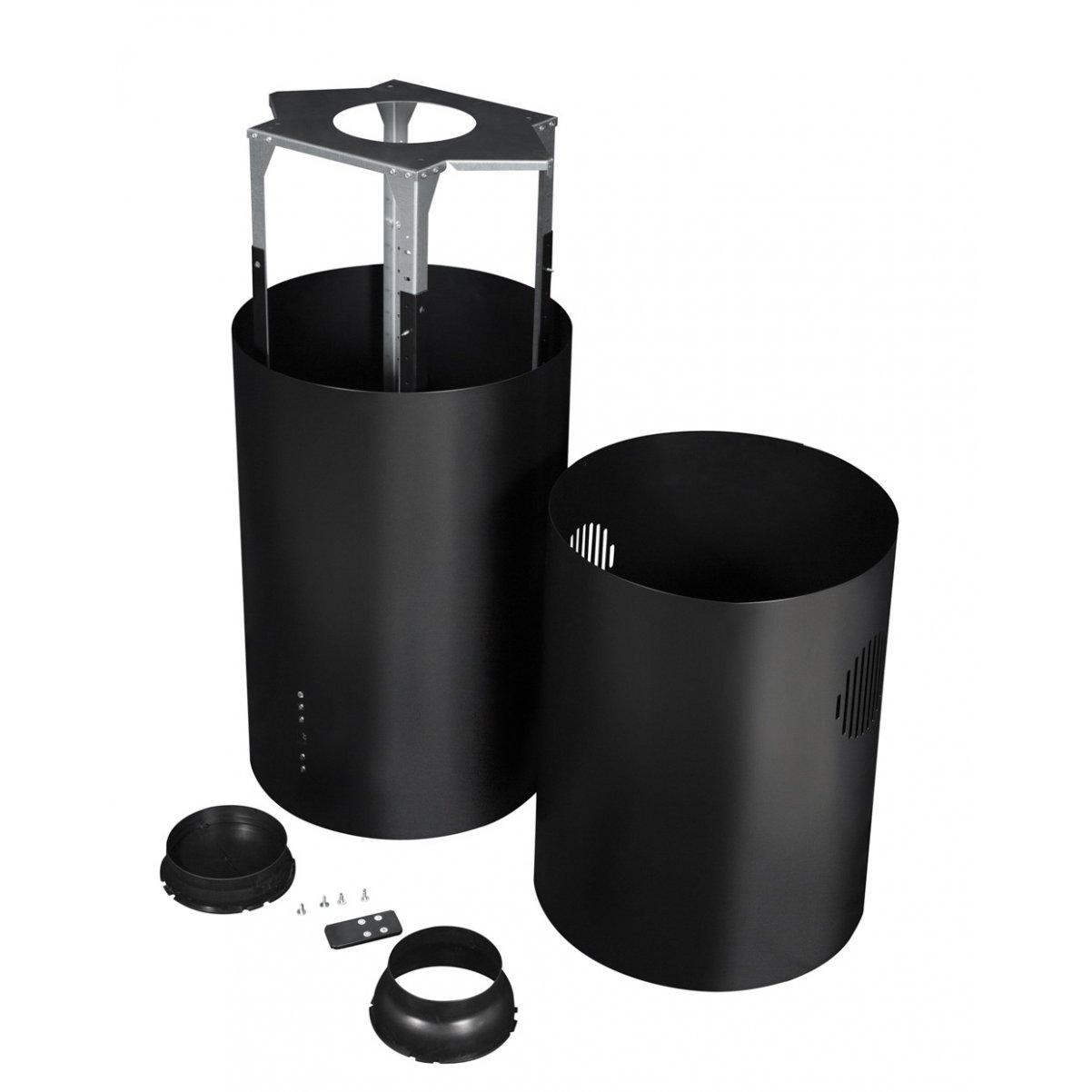 Design frihängande cylinderformad köksfläkt Explorer svart matt