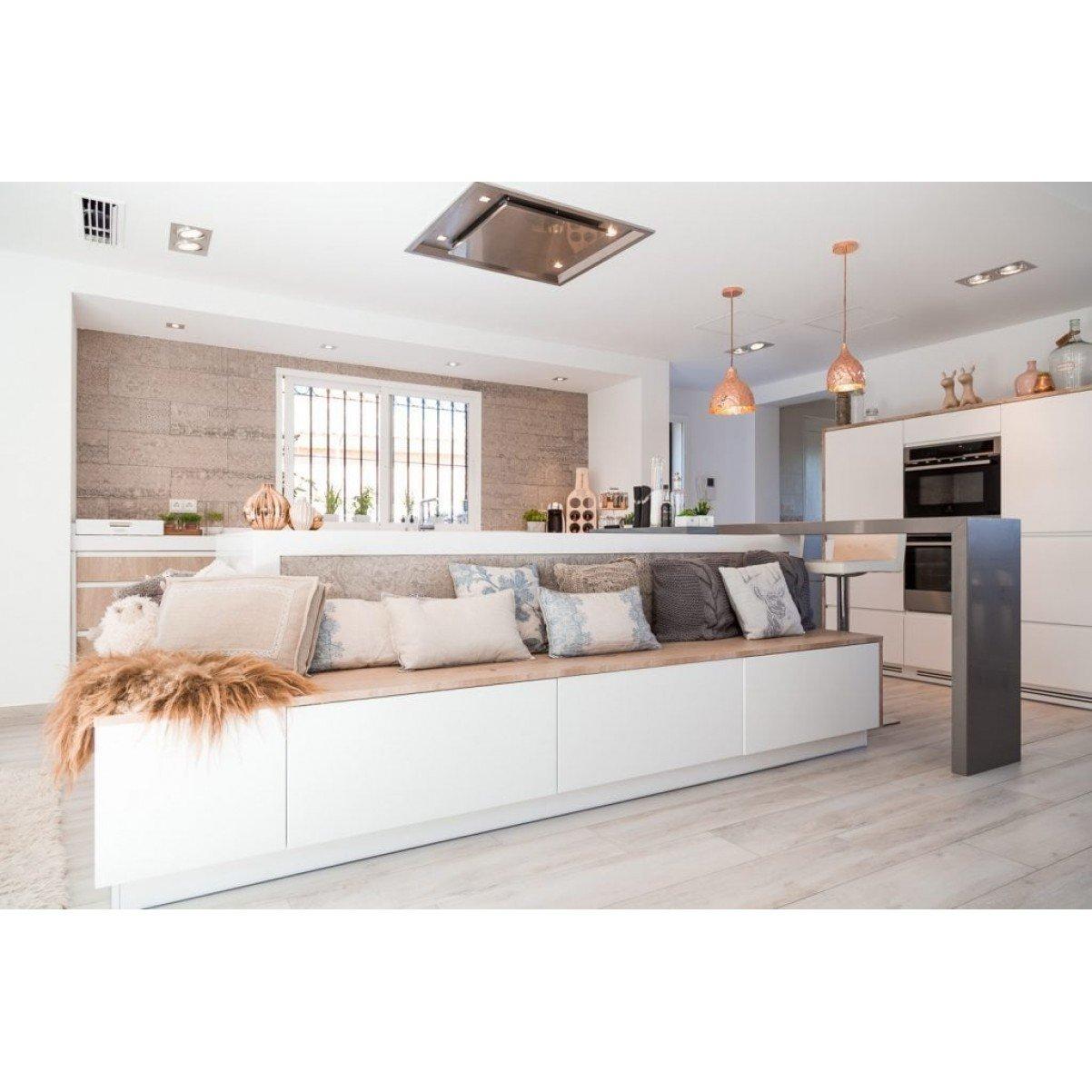 Premium line tak integrerad köksfläkt Swedluxury Delta rostfritt stål 90cm x 80 cm