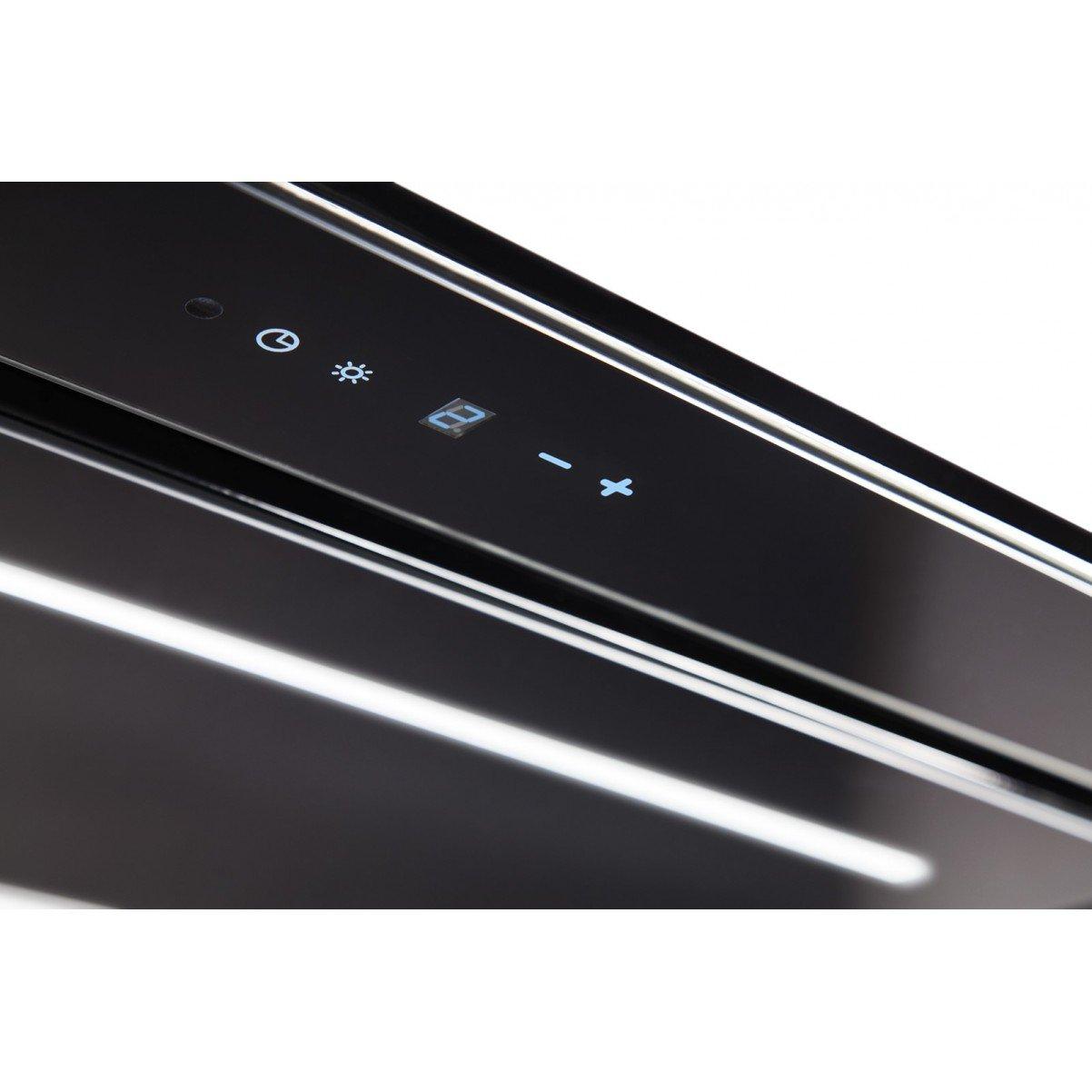 Tak-integrerad köksfläkt LYXOR ELITE svart glas 96cm / 120 cm