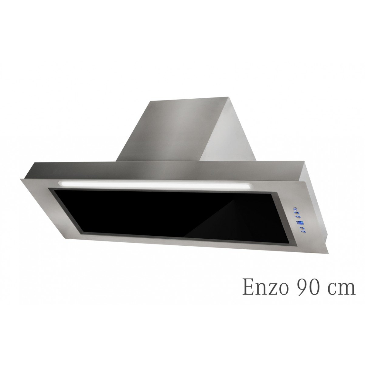 Inbyggnadsfläkt Enzo  rostfritt +svart glas  60cm/90cm
