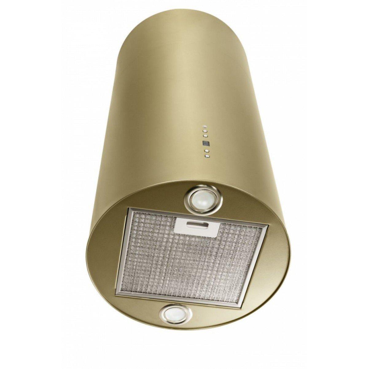 Design frihängande cylinderformad köksfläkt Explorer guld