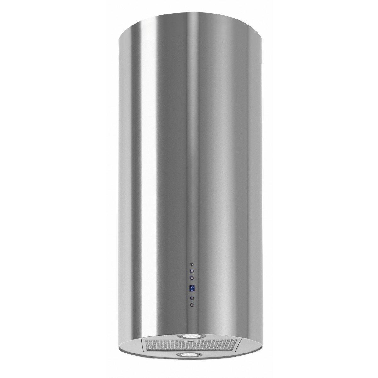 Design frihängande cylinderformad köksfläkt Explorer rostfri