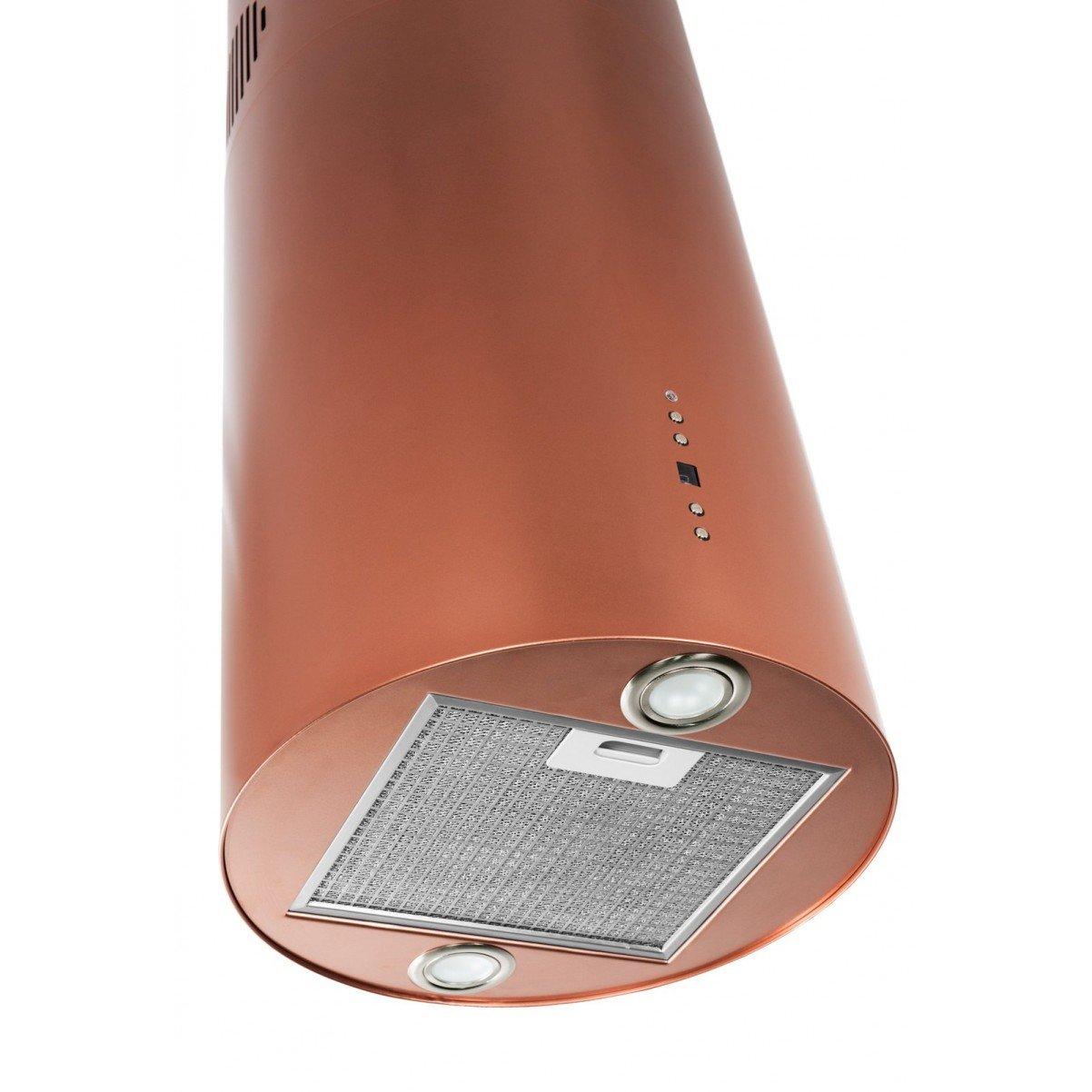 Design frihängande cylinderformad köksfläkt Explorer koppar matt