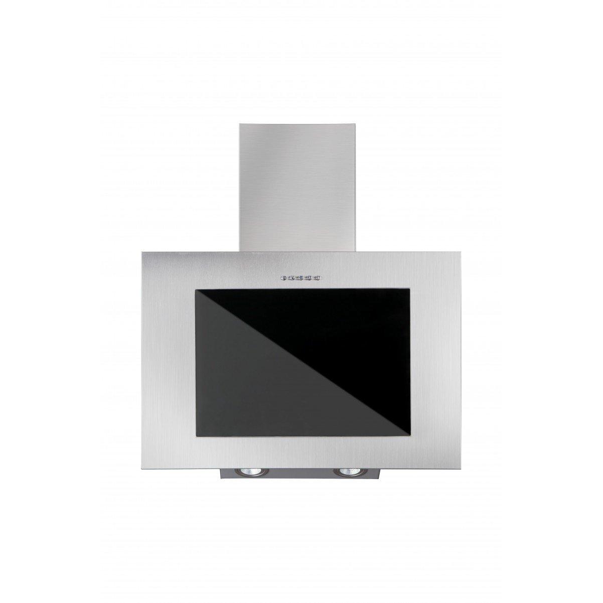 Vägghängd köksfläkt FIERRA rostfritt stål 50cm/60cm/80cm/90cm +svart glas