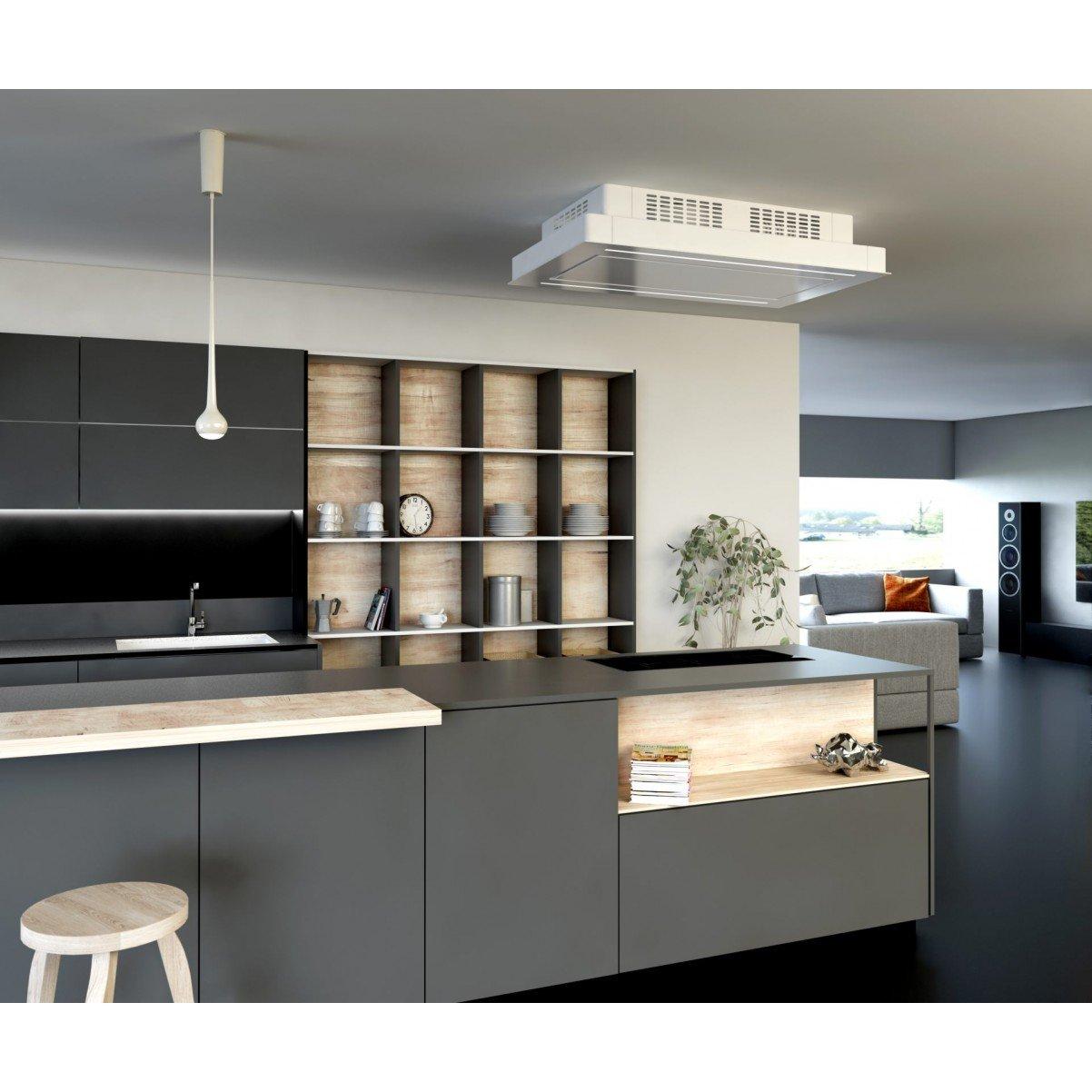 Premium line tak integrerad köksfläkt Swedluxury GAMMA vit glas