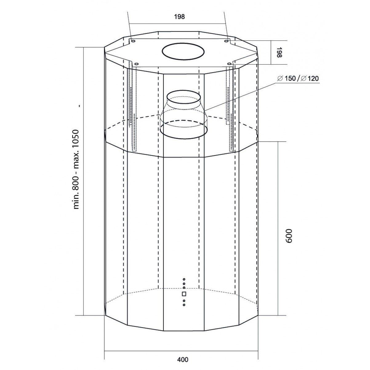 Design frihängande köksfläkt Geneve svartlackerad