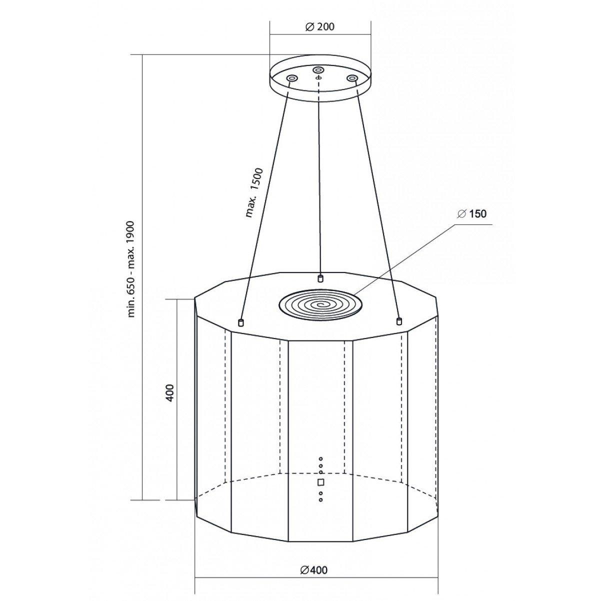 Design frihängande köksfläkt Geneve XS borstat rostfritt stål