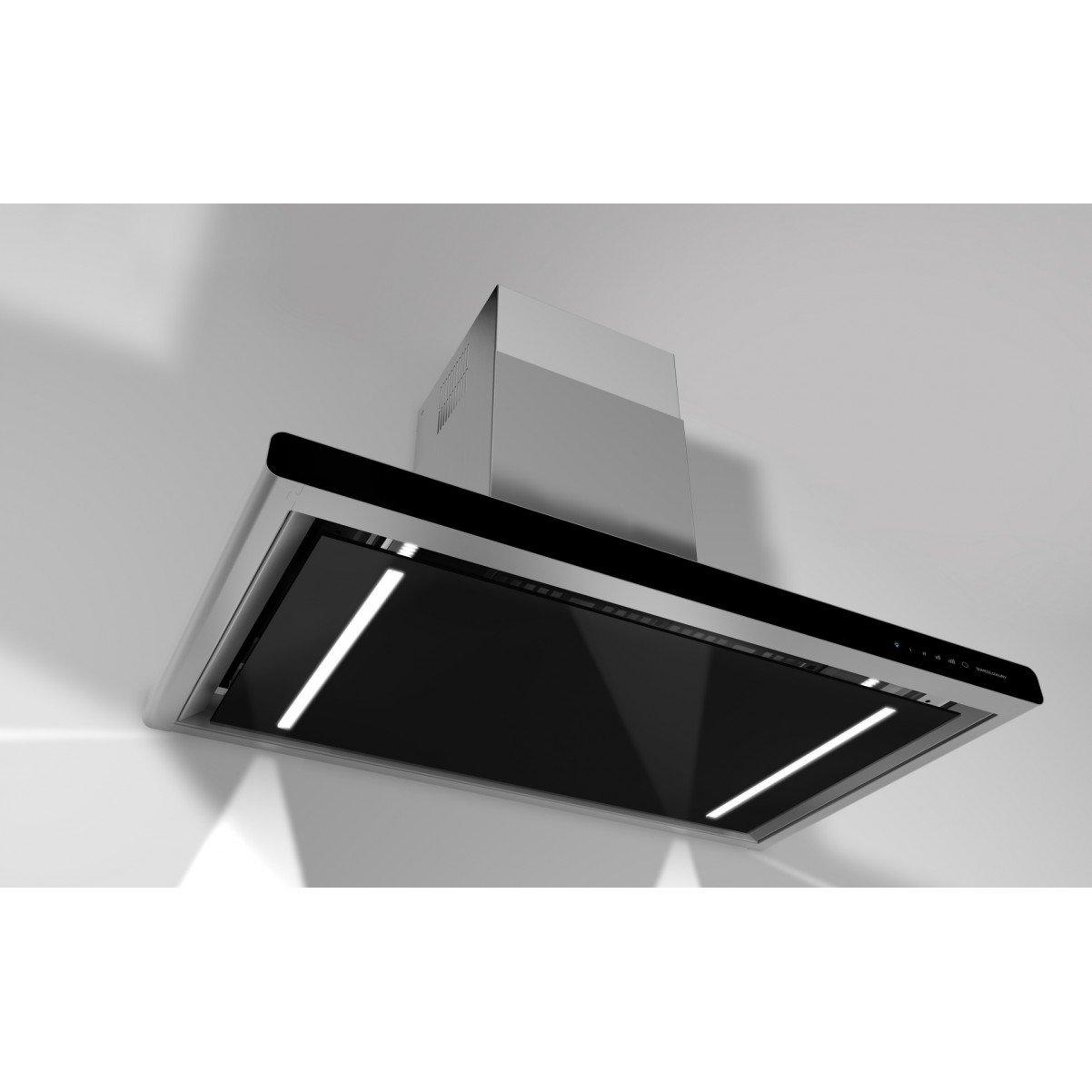 Premium line vägghängd köksfläkt Hero 90cm svart glas+rostfri