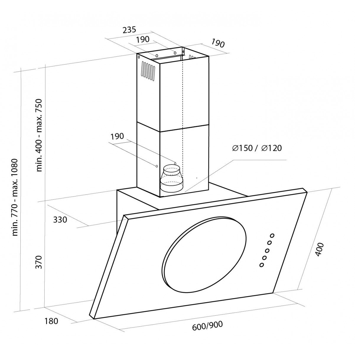 Vägghängd köksfläkt JUPITER  60cm/ 90cm +svart glas