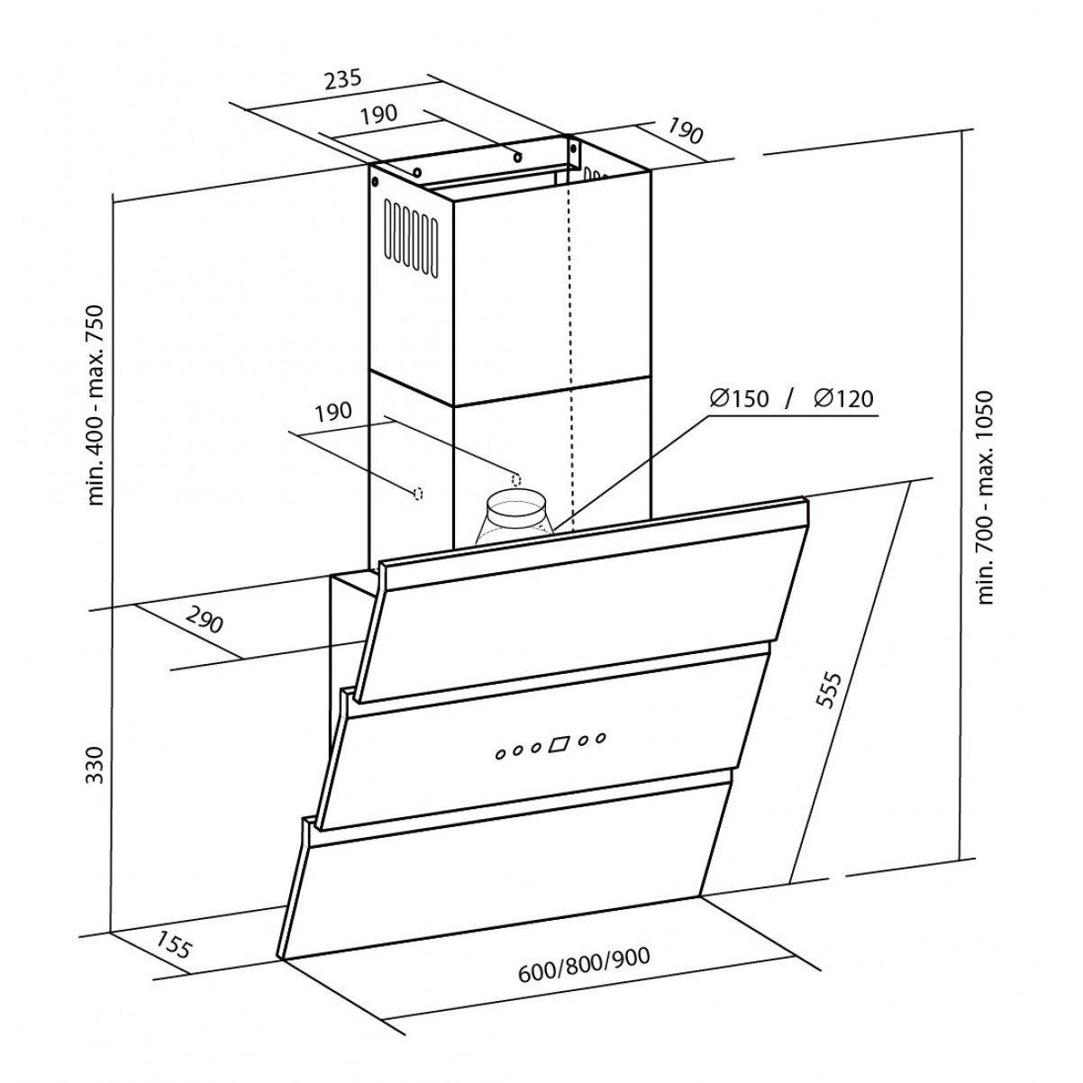 Vägghängd vertikal köksfläkt Kaskade LYX vit  glas 60cm/80cm/90cm