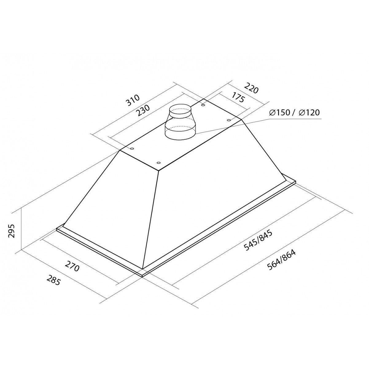 Inbyggnadsfläkt Linnea lyx| svart glas 60 cm/ 90 cm