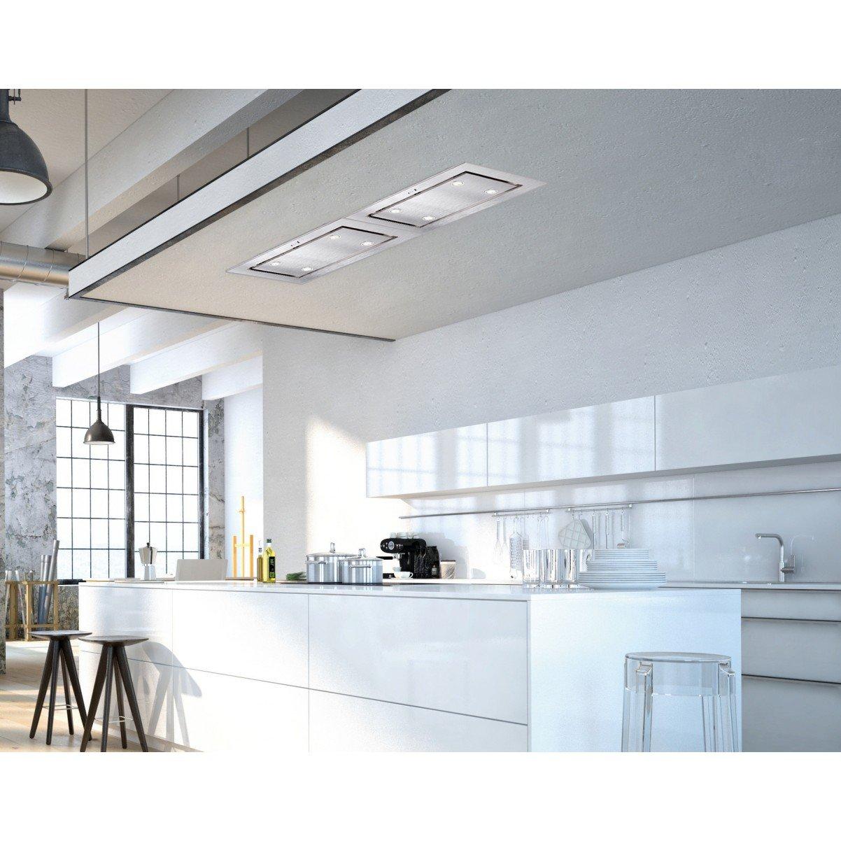Tak-integrerad köksfläkt LYXOR  vit glas 96cm/120cm