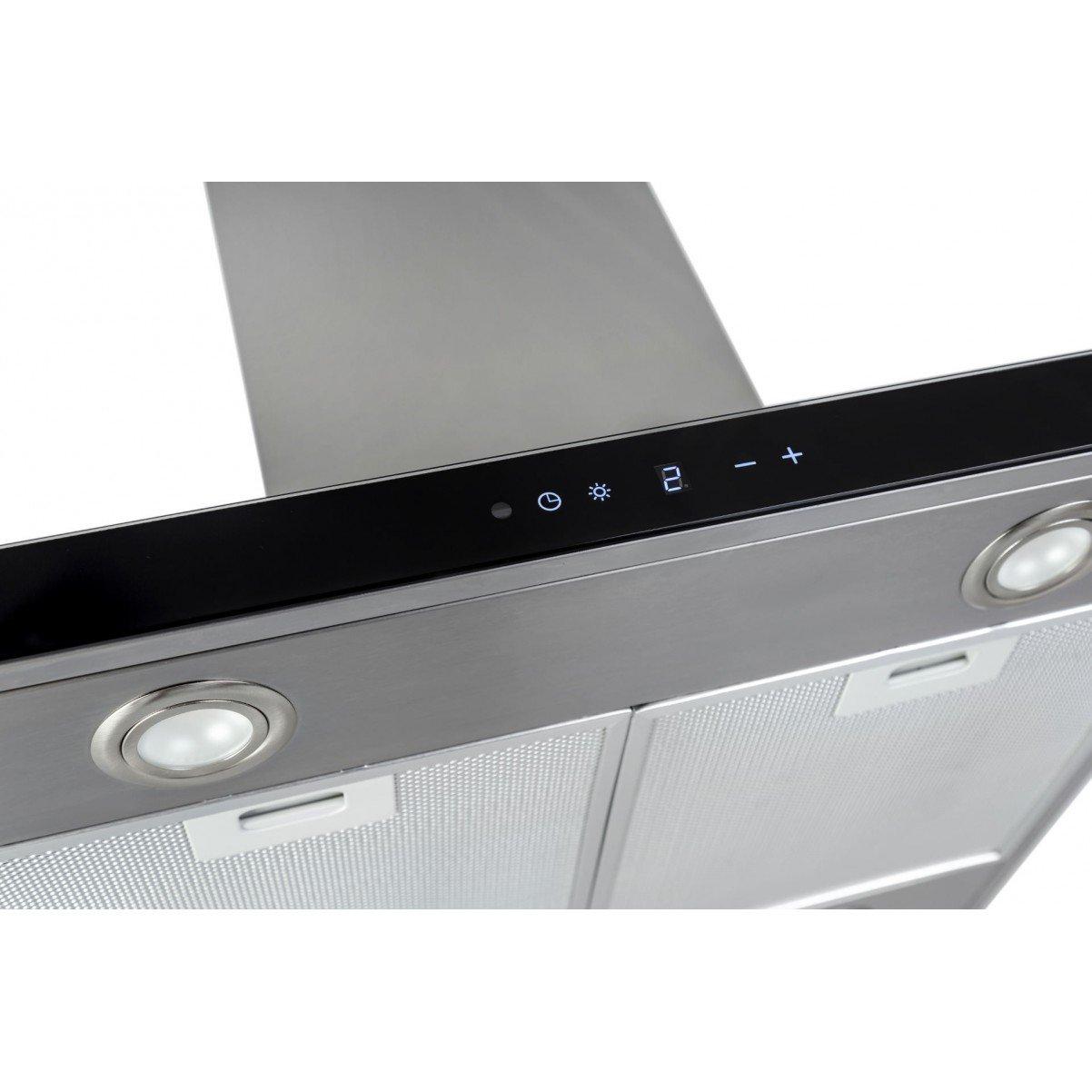 Lyx vägghängd köksfläkt PACIFIC 60cm / 90 cm rostfritt stål+ vit/ svart glas