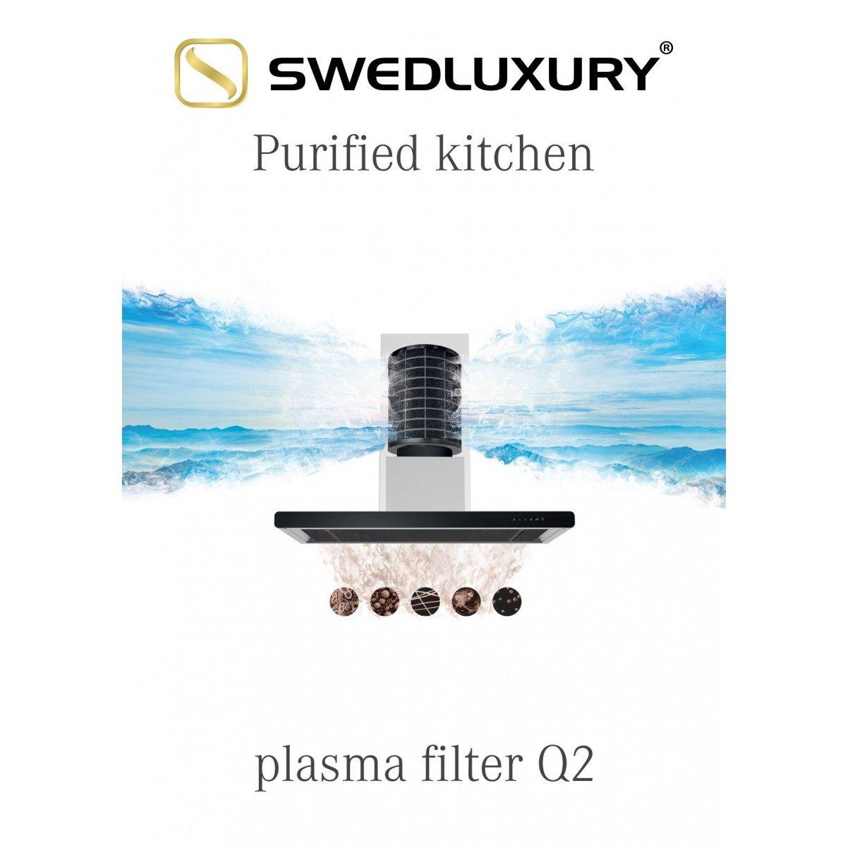 Lyx frihängande köksfläkt Pacific  60cm / 90 cm svart matt+ glas