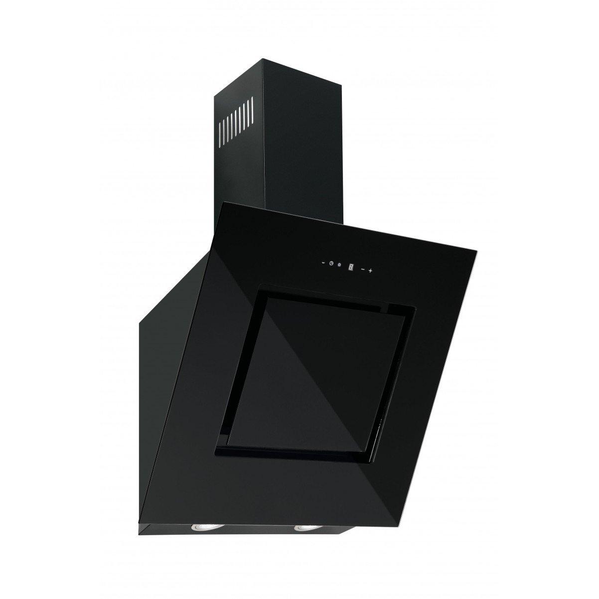 Vägghängd köksfläkt Rosvik svart  glas 60cm/80cm/90cm