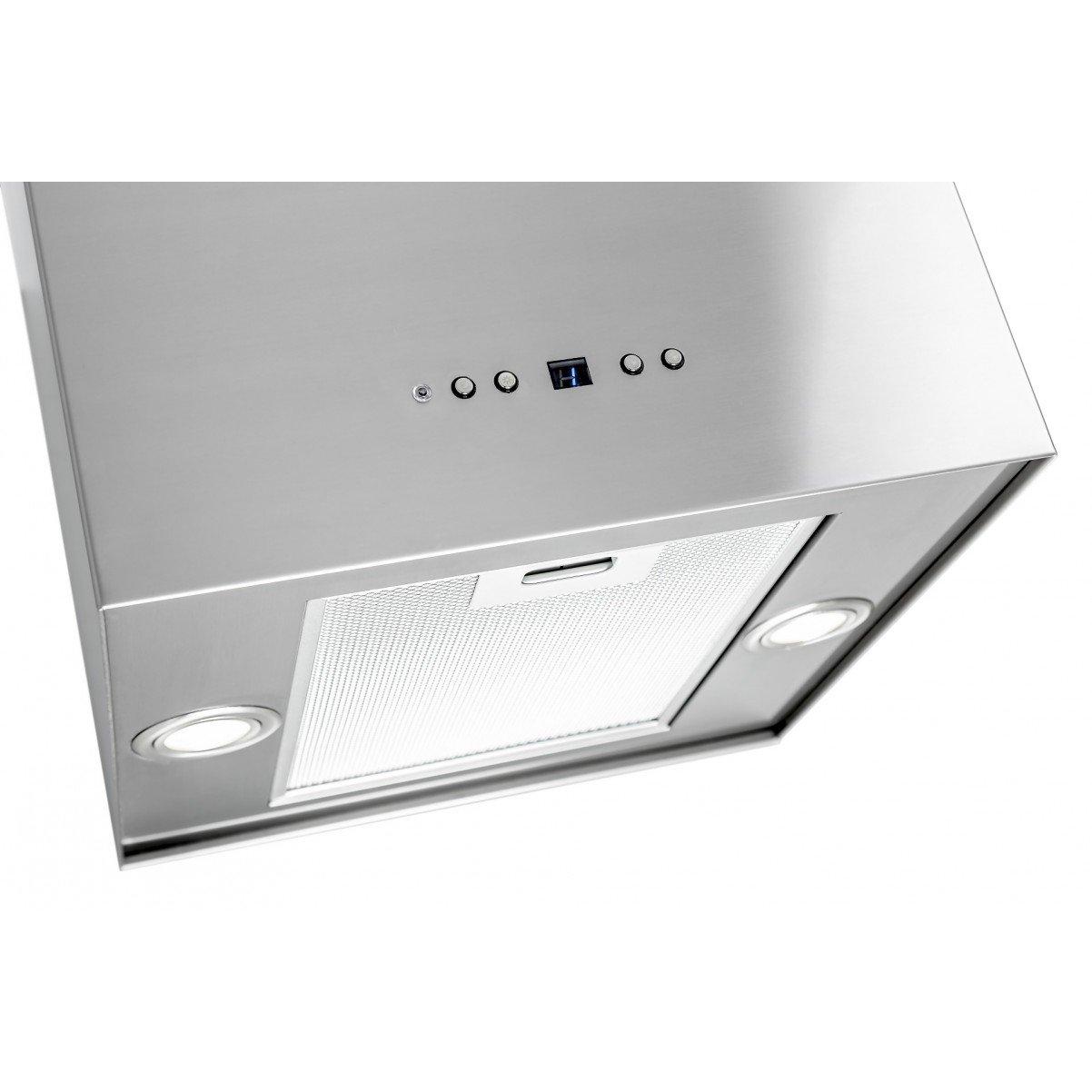 Modern frihängande köksfläkt Samantha rostfritt stål / vit / svart