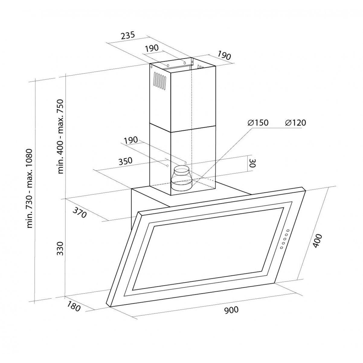 Vägghängd köksfläkt SIGMA vit 90cm +vit glas