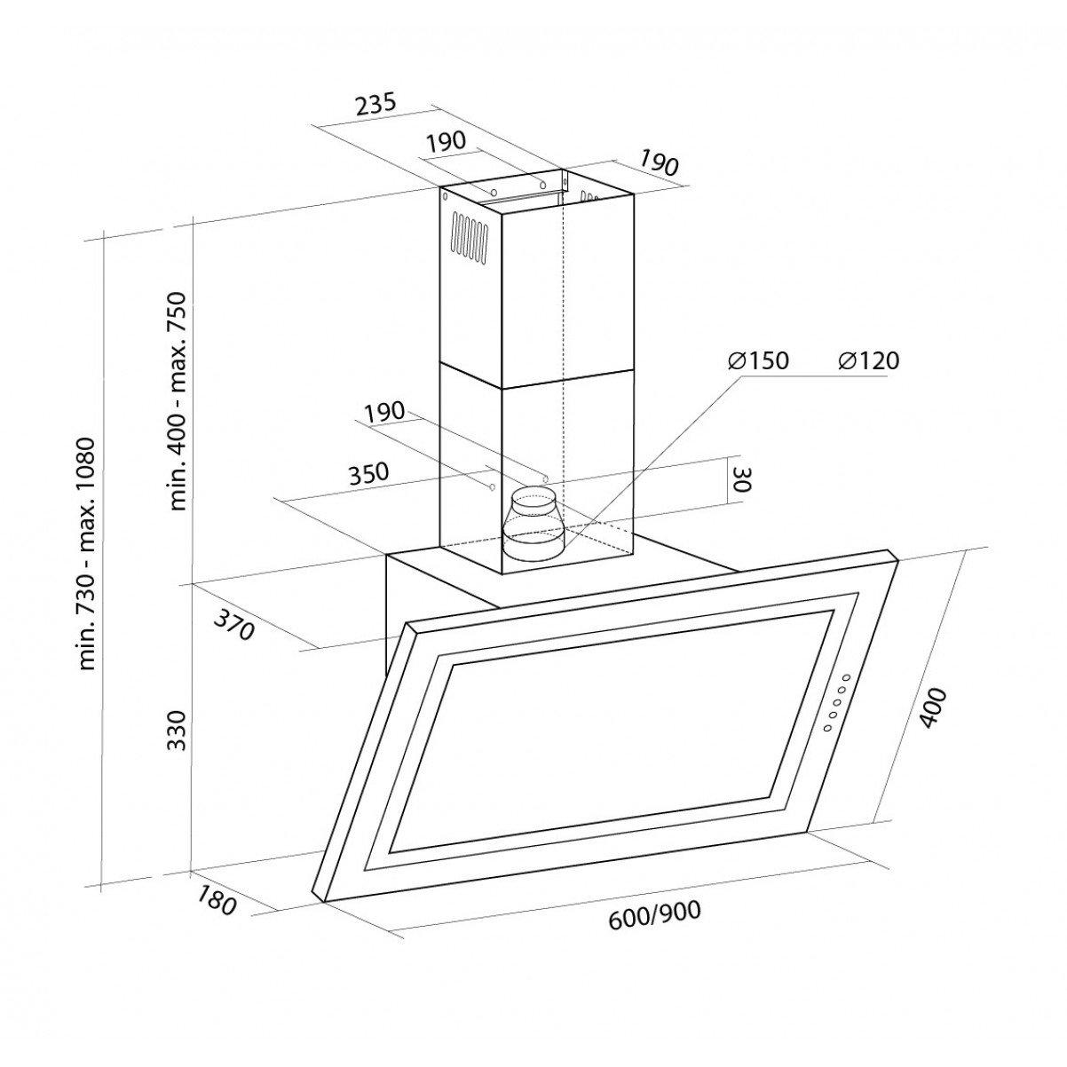 Vägghängd köksfläkt SIGMA vit 60cm/ 90cm +vit glas