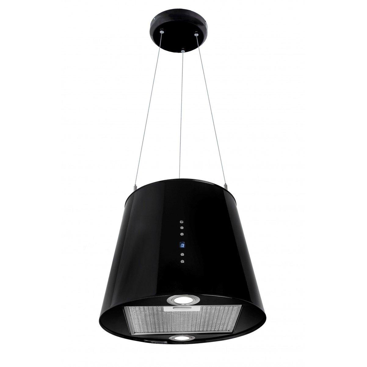 Modern frihängande köksfläkt Vesuvius XS  vit / svart