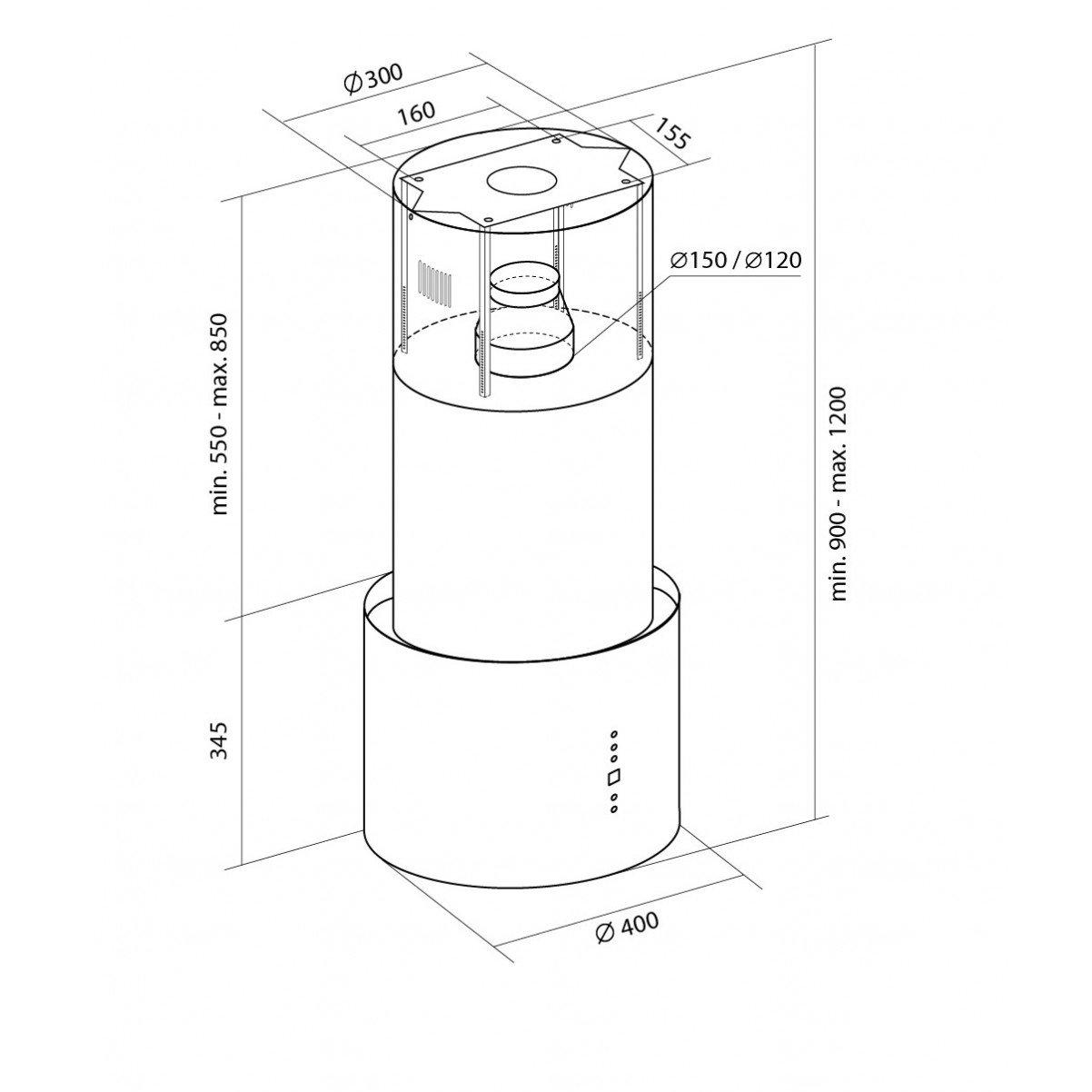 Design frihängande köksfläkt Ypperlig borstat rostfritt stål