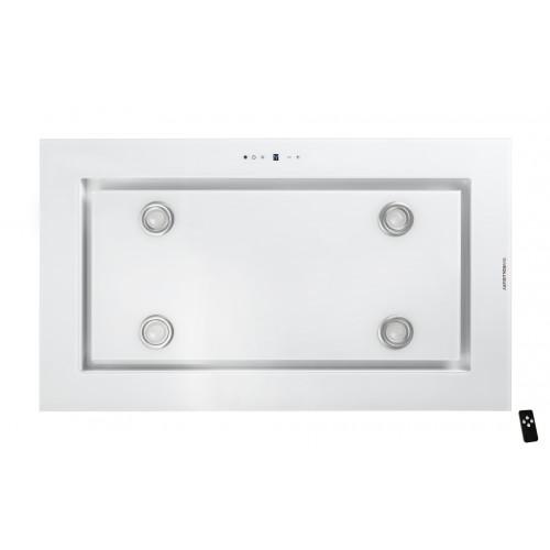 Tak-integrerad köksfläkt LYXOR  vit glas+ LED INTERN eller EXTERN motor