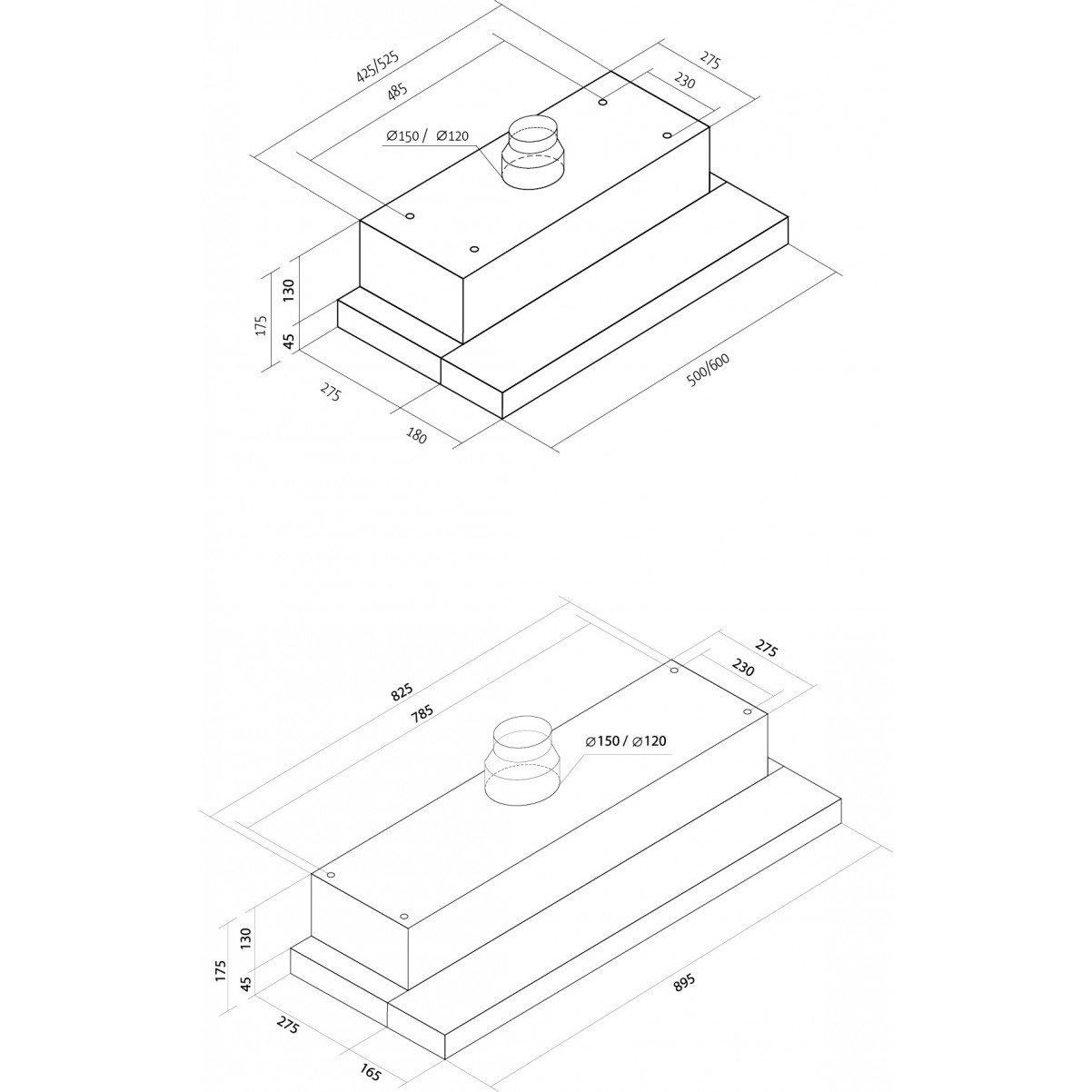 Utdragbar köksfläkt Nogran rostfritt stål 50cm/ 60cm/90cm