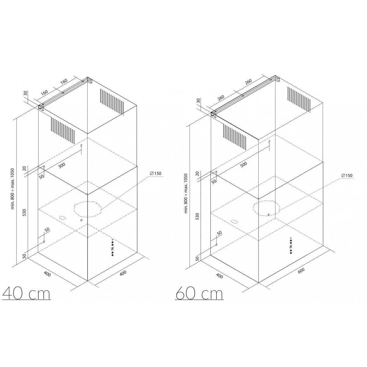 Lyx vägghängd  köksfläkt SEMPRE 40cm / 60cm vit