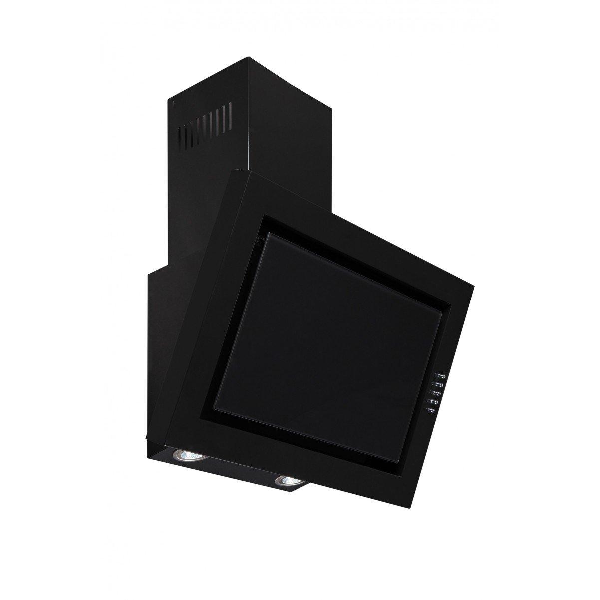 Vägghängd köksfläkt SIGMA svart 60cm/90cm +svart glas