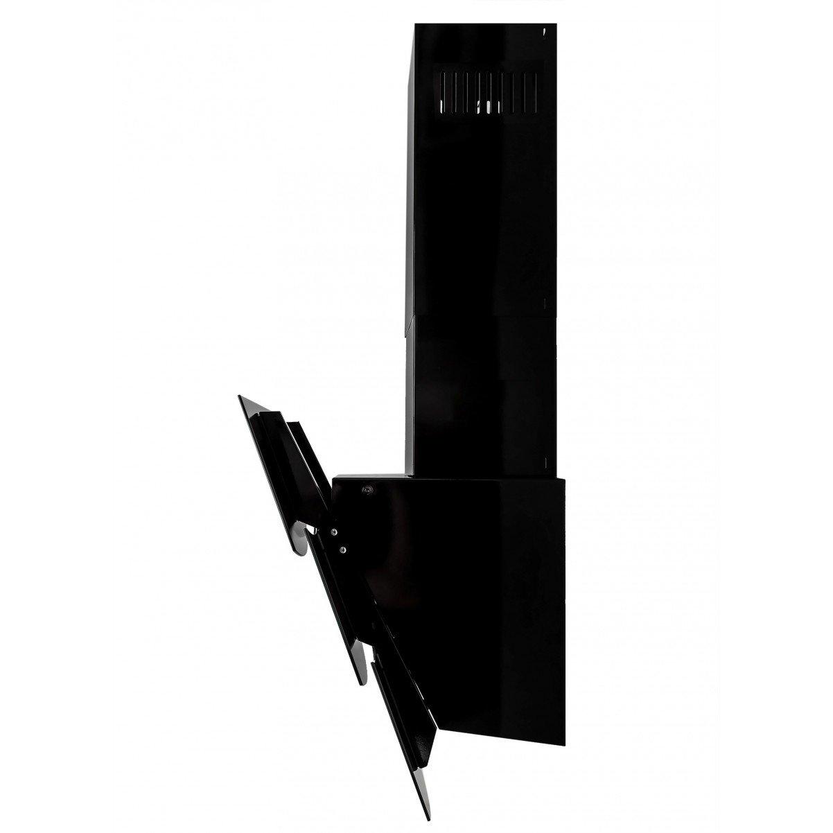 Vägghängd köksfläkt Wave vit/svart  glas 60cm/80cm/90cm