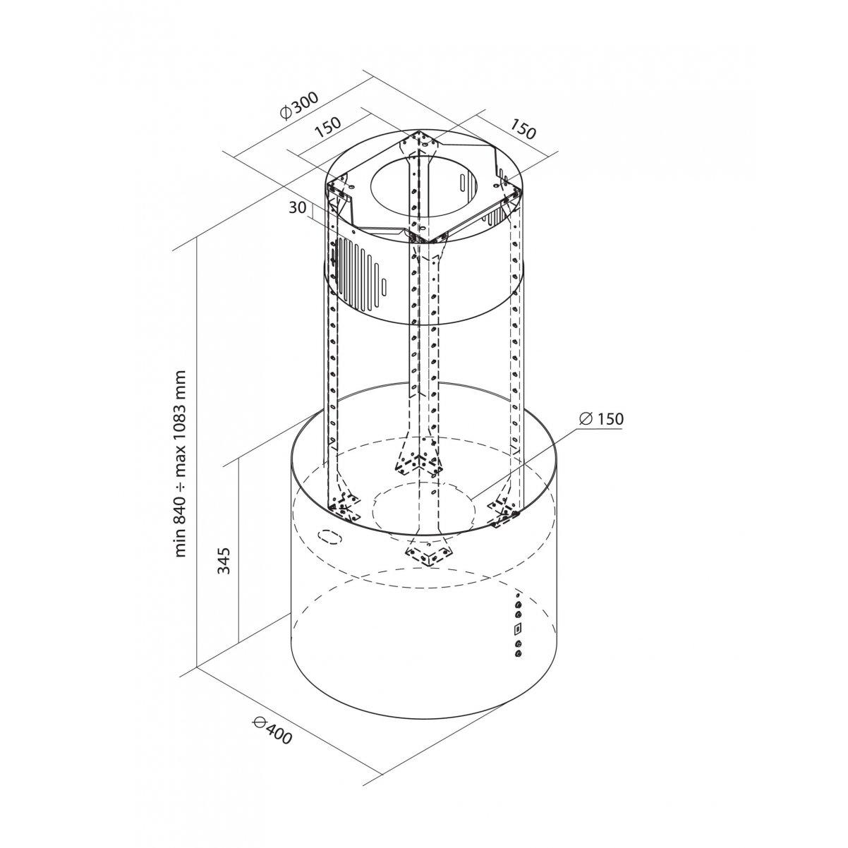 Design frihängande köksfläkt Ypperlig vitlackerad